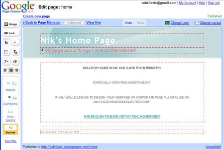 screenshot google pages