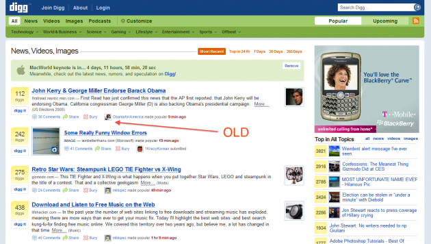 digg homepage