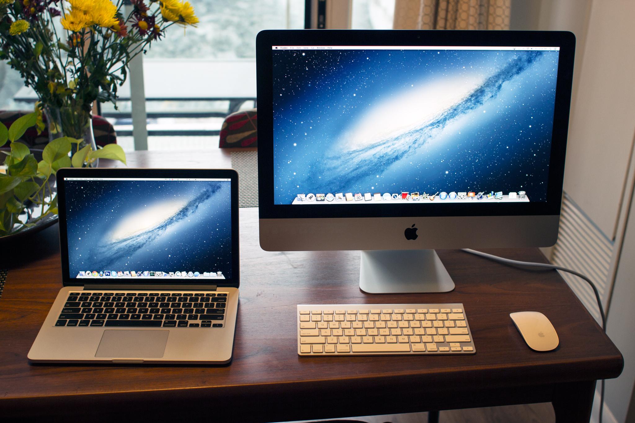 2012 iMac next to 2012 13-inch Retina MacBook Pro