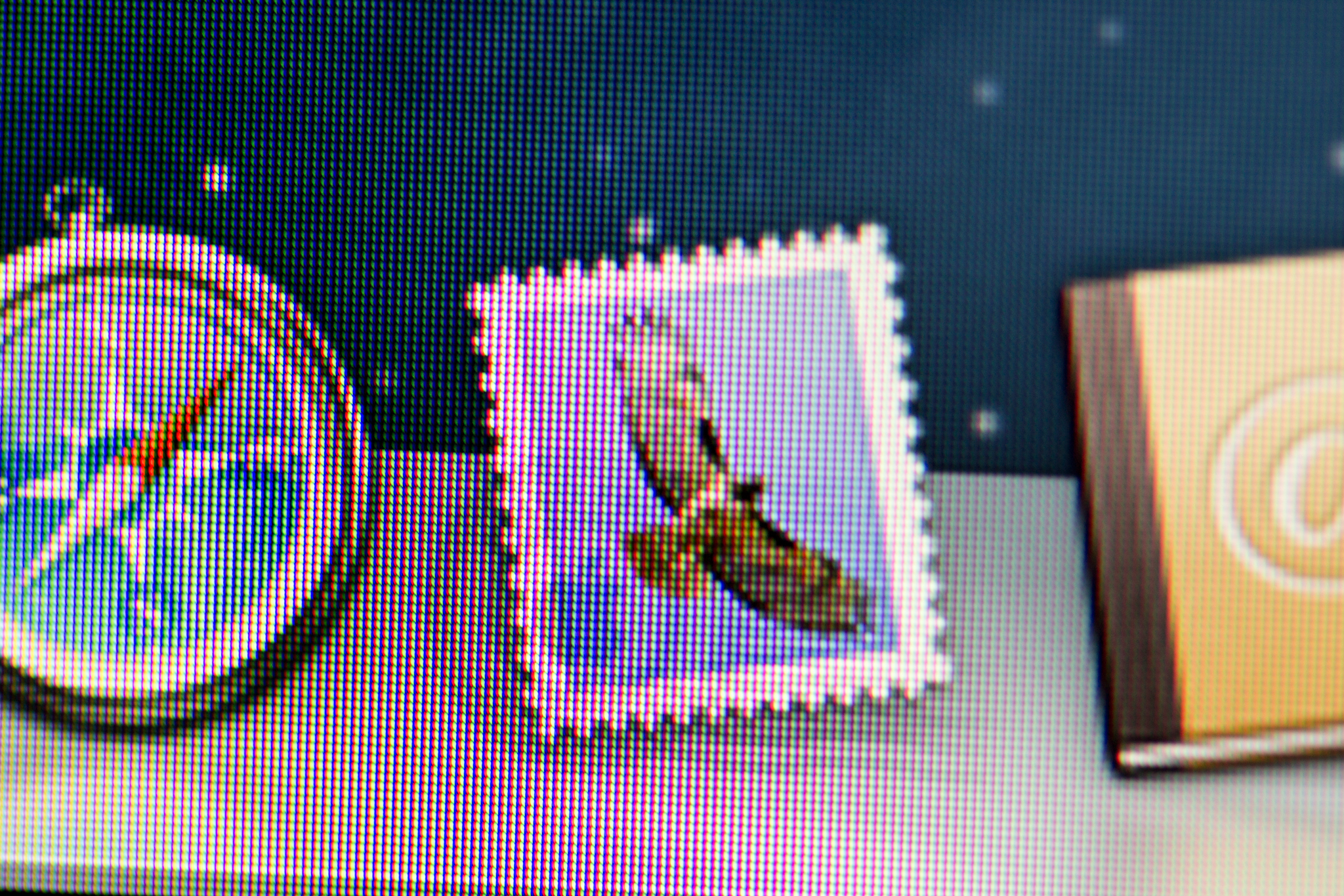 Close-up of Mail icon on 2012 iMac screen