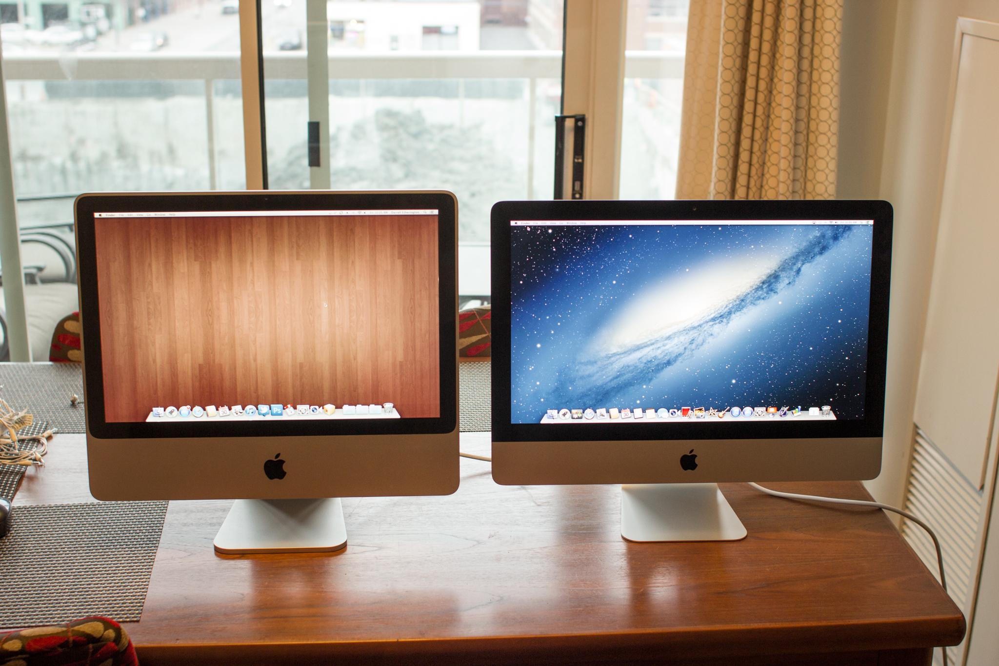 2008 20-inch iMac (left) next to 2012 21.5-inch iMac