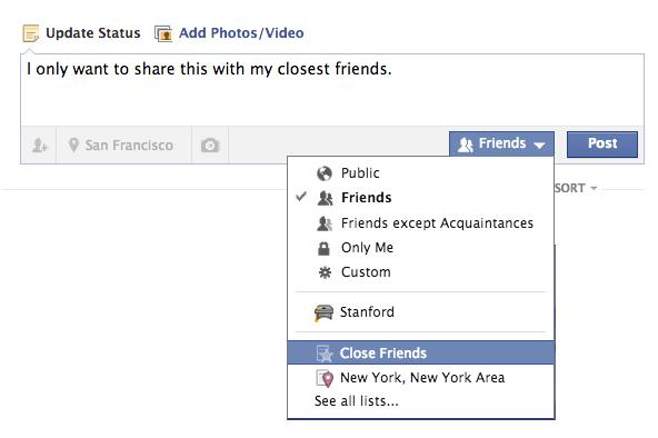 Custom Audience Selector Facebook Privacy