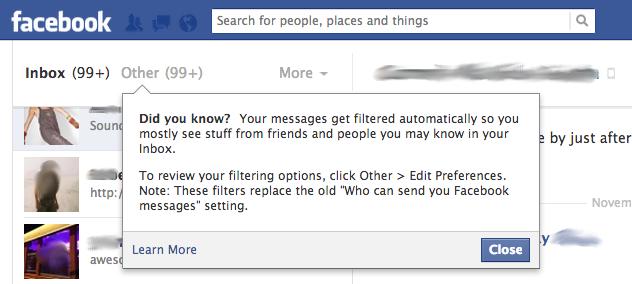Facebook privacy notice Blurred