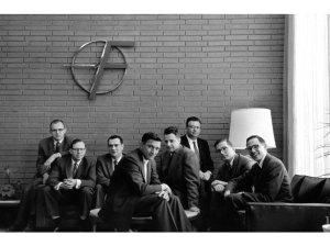 The 'traitorous eight' who founded Fairchild Semiconductor. From left: Gordon Moore, Sheldon Roberts, Eugene Kleiner, Robert Noyce, Victor Grinich, Julius Blank, Jean Hoerni and Jay Last.