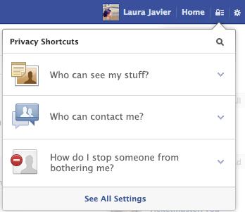 Privacy Shortcuts Dropdown