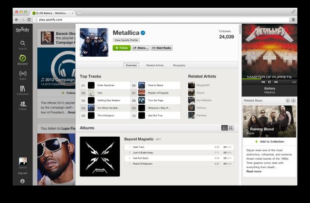 Spotify Metallica Discography