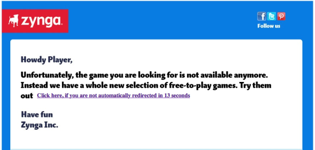 Zynga Shut Down Notice