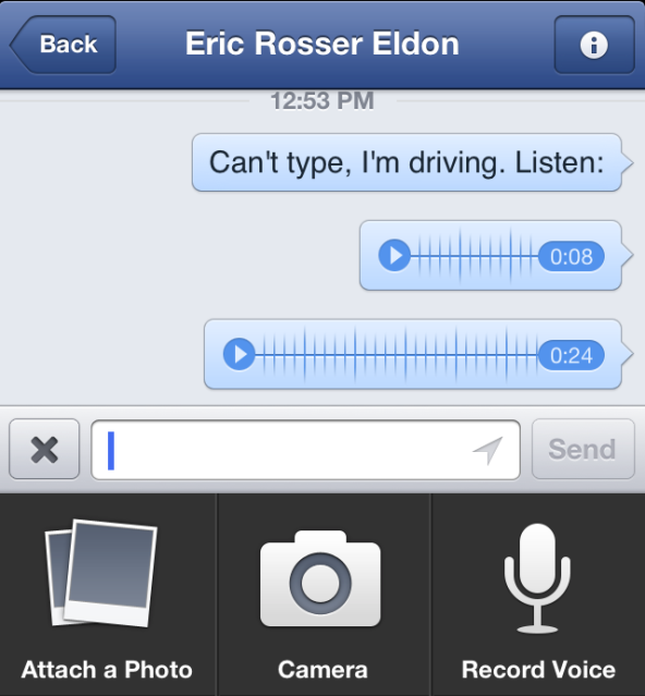 Facebook Driving Voice messages