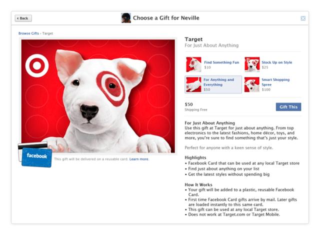 facebook gift card target