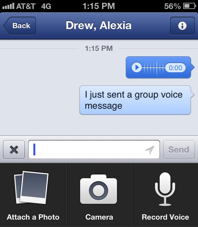 Facebook Mobile Voice Messaging