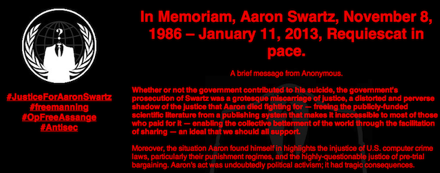HACKED BY ANONYMOUS - TRIBUTE TO AARON SWARTZ-top