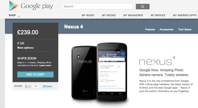nexus 4 UK