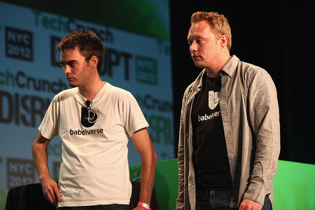 Babelverse founders  Mayel de Borniol and Josef Dunne at TechCrunch Disrupt.