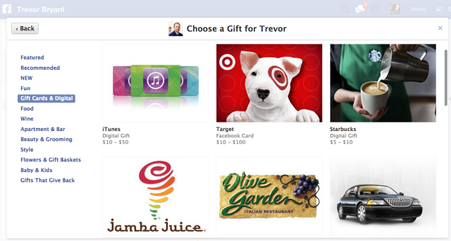 Facebook Buy Gift Card
