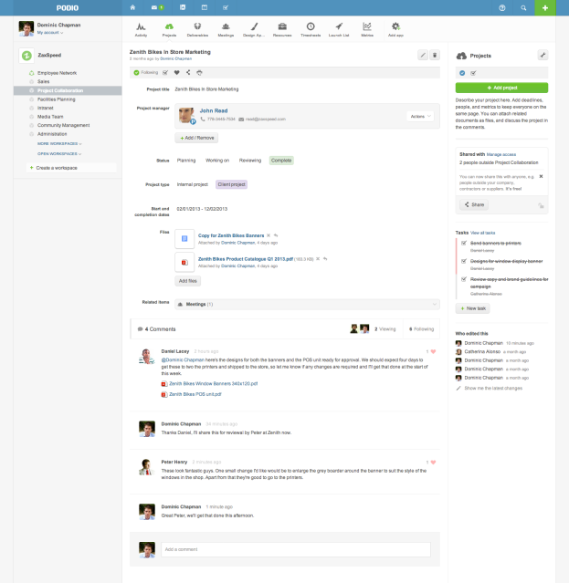 Project in Podio with Live Comments