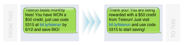 persado transformation 2 text message