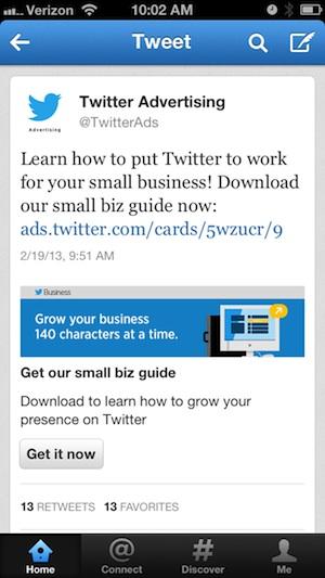 twitter advertising card