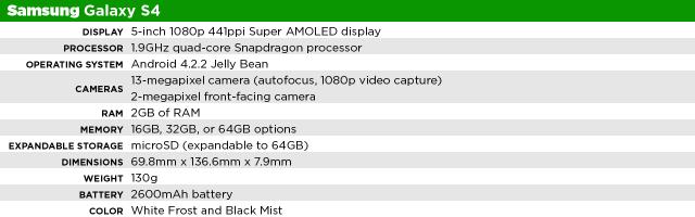 Samsung Galaxy S4 specs