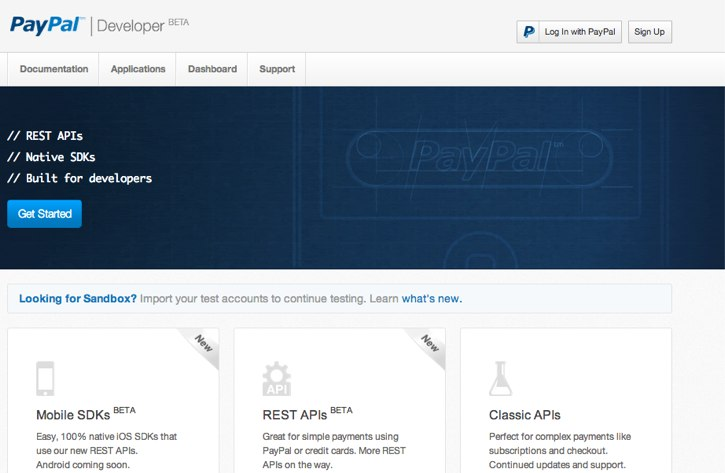 paypal front page