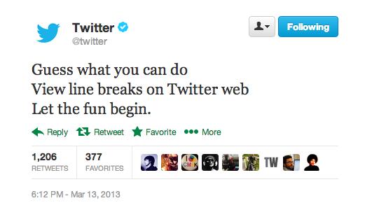 twitter line breaks tweet