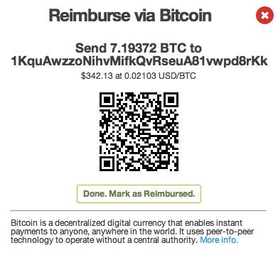 Send Bitcion Reimbursement