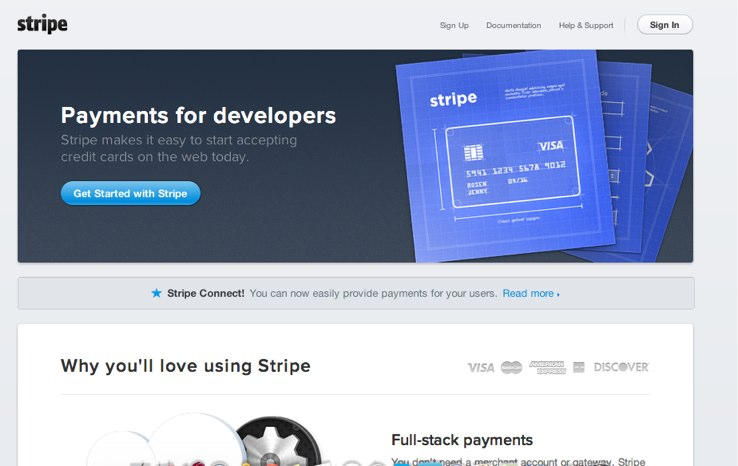stripe front page
