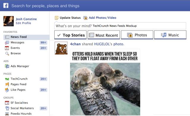 TechCrunch Facebook News Feeds Mockup