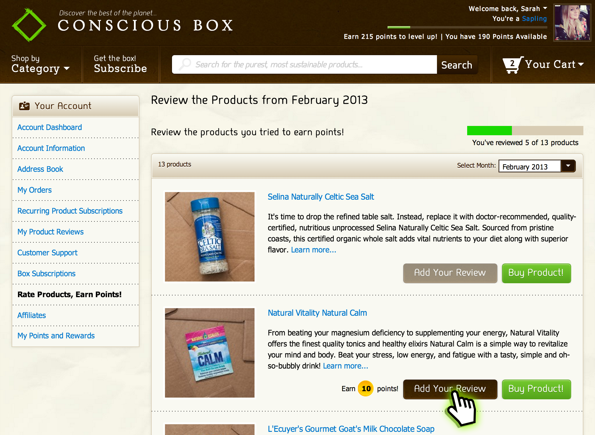 Conscious Box - Rate Page Demo