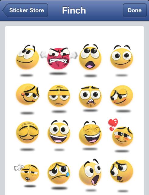Facebook Finch Stickers