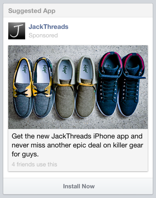 Facebook New App Install Ad Screenshot