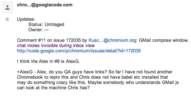Issue 172035 in chromium_ GMail compose window, chat moles invisible during inbox view - Google Groups