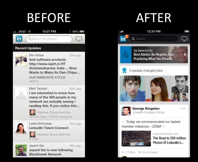 linkedin app before after