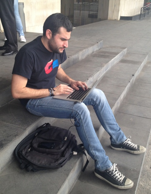 Hacking on the steps of Congress.