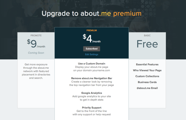 about.me_Premium_Upgrade Page