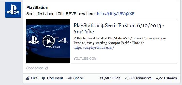 Facebook Playstation Ad