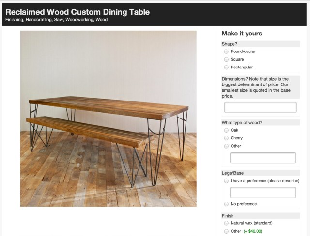 Reclaimed Wood Custom Dining Table, custom made with Makeably