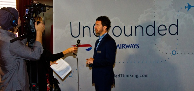 Simon Talling-Smith, British Airways, pre-Ungrounded flight at the Clift hotel and press conference