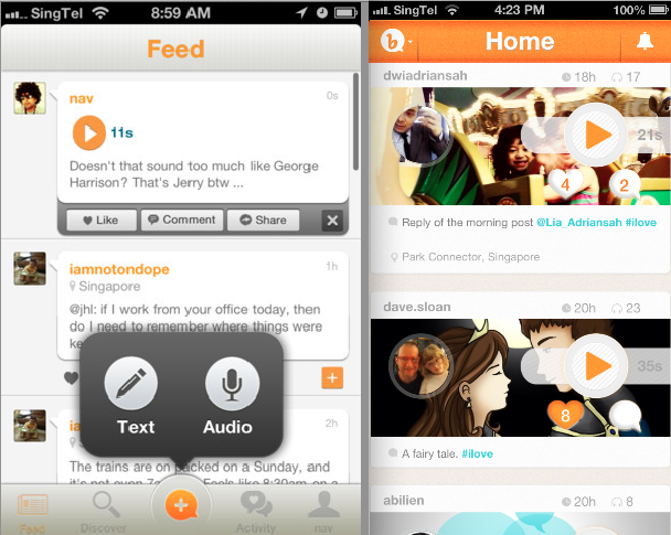 Bubbly's older interface (left), revamped 3.0 interface (right)