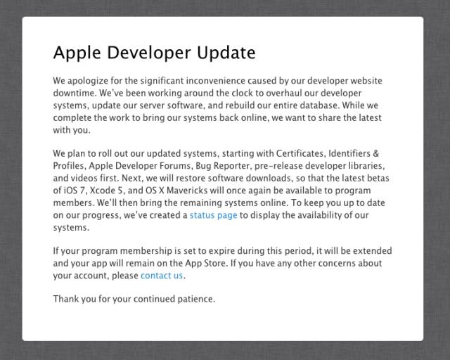 apple developer notice