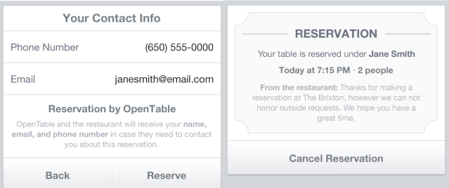 OpenTable - Reservation