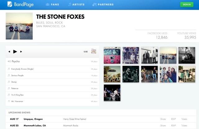 profile_BandPage Dashboard