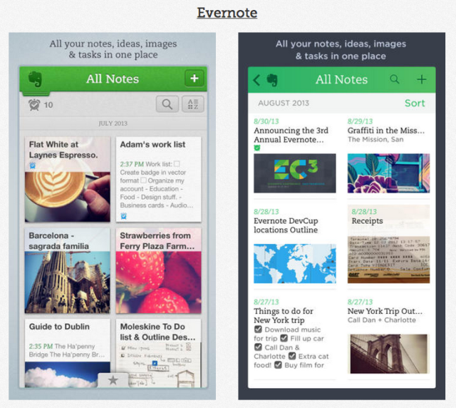 Evernote iOS 7