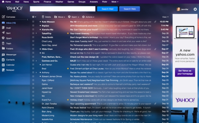 Yahoo Mail Desktop - Inbox Message List