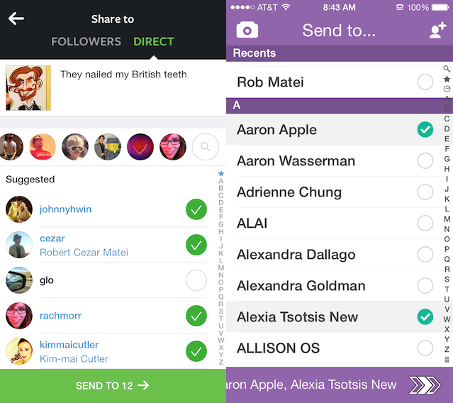 Compare Instagram Direct on the left with Snapchat on the right