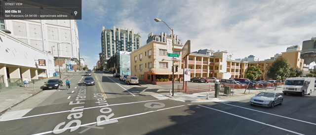 Scene of the accident, from Google Street View. The arrow marks the location of the vehicle