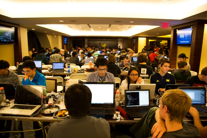 Hackers hack during the MHacks Hackathon 2013 in the Big House on September 21, 2013 in Ann Arbor, MI.