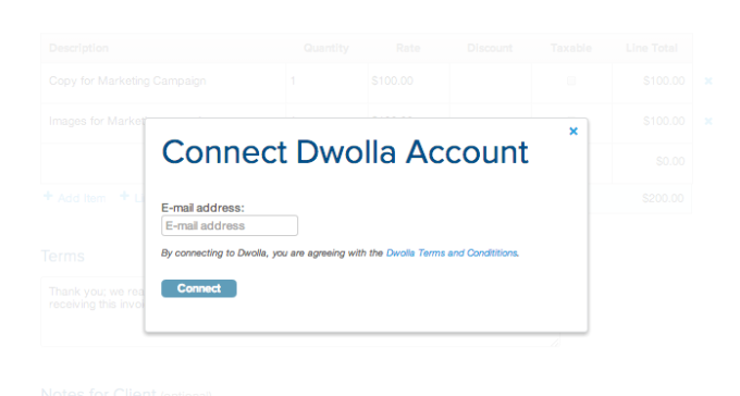 GoDaddy and Dwolla - Connet with Dwolla