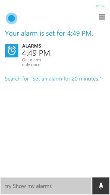 cortana alarm