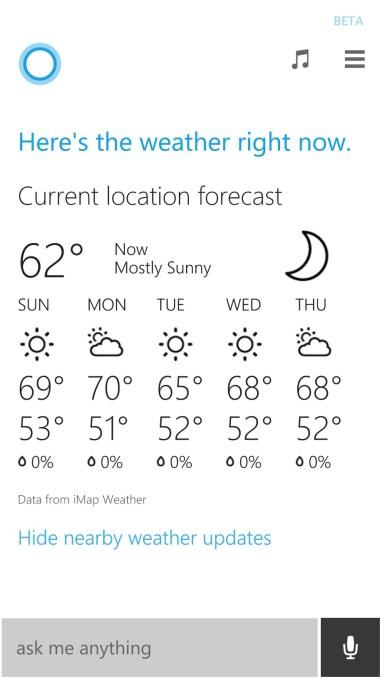 cortana does weather