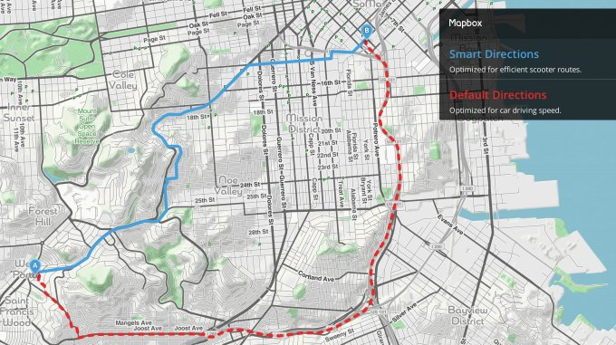 mapbox smart directions